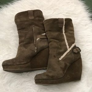 Nine West Suede Wedge Booties